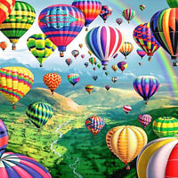 Full Drill Diamond Painting Kit Like Cross Stitch Balloons Scenery ZY075D
