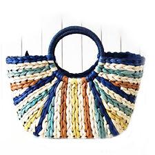 Woman Blue Strip Summer Beach Rattan Woven w Round handle Women Shoulder Handbag