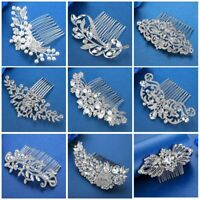 Silver Color Rhinestone Flower Leaf Bridal Hair Comb For Girls Crystal Ornaments