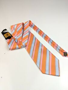 NEW Ermegildo Zegna Silk Tie Orange Blue Pink Striped  A78