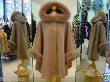 Camel Cashmere Hooded Jacket With Fox Fur Trim Beautifully Canadian Label