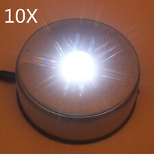 10X Rotating 7 LED White Light Stand Base - Display Crystal 3D Glass DC Adapter