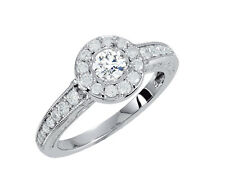 Diamond Engagement Ring 0.91 Carat Total Weight Set in 14K WG G VVS1 GIA