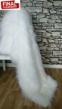 Designer Faux Fur Throw Vegan Blanket Gift New White Long Pile RRP £150