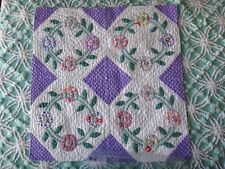 Sweet Antique Wreath Quilt Block 21x21 w Pretty Colors Fabrics Cottage Ready #4