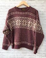 Eddie Bauer Wool Sweater Womens Medium Crew Wine Mauve Snowflake Vintage USA