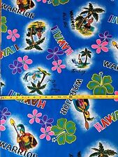 Vintage Hawaii Wahine! Warrior Blue Cotton Blend Broadcloth Fabric By the Yard