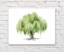 "Willow Tree Watercolor 11"" x 14"" Art Print by Artist DJR"
