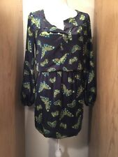 Chelsea & Violent Long Sleeve Dress Size Small Color Navy Blue Butterfly Print