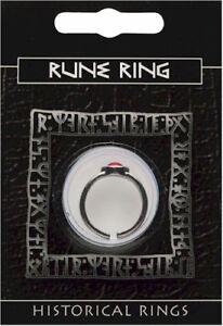 Rune Viking Pewter Gem Ring
