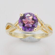 8.0mm Round Cut Soild 14kt 585 Yellow Gold Natural Amethyst Natural Diamond Ring