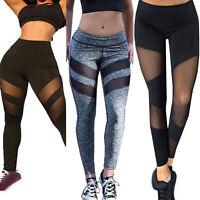 Women's Mesh Sheer Yoga Leggings Sport Pants Running Fitness Trousers Bottoms