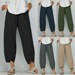 Summer Womens Ladies Cotton Linen Baggy Casual Harem Pants Trousers Plus Size