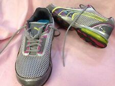 Puma Sneakers Grey Pink Neon Yellow Green Size 7