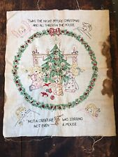 Vintage Embroidery Sampler Hand Stitched 'Twas Night Before Christmas 18 X 22
