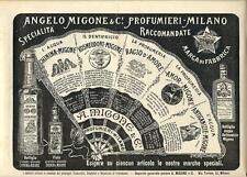Stampa antica pubblicità ANGELO MIGONE PROFUMIERE Milano 1898 Old antique print