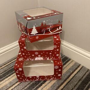 "Christmas Cake / Mince Pie / Yule Log / Cupcake Box Cup Cake 7"", 8"", 10"" Boxes"