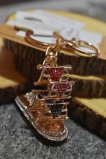 Elegant Sail Boat Novelty Key Chain with Multi-colored Rhinestones