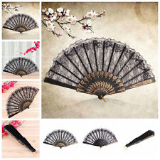 Black Spanish Style Dance Party Wedding Lace Silk Folding Hand Held Flower Fan l