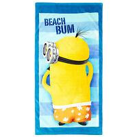 MINIONS serviette drap de bain plage  70 x 140 cm bleu jaune neuve
