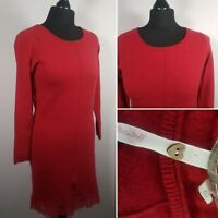 WHITE STUFF Red Jumper Dress Sz 10 Knitted Long Sleeve Tunic Smart Casual Office