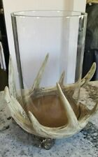 Pottery Barn Large Antler Hurricane Candleholders NEW in box NLA sold out
