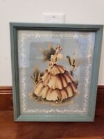 Victorian Watercolor drawing painting print of young woman lady in 1830s dress