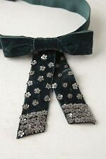 NIP Anthropologie PARKINGTON BELT Velvet Bow Silver Sequins Sparkle Green M