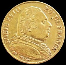 1814 A GOLD FRANCE 20 FRANCS KING LOUIS XVIII COIN ABOUT UNCIRCULATED CONDITION