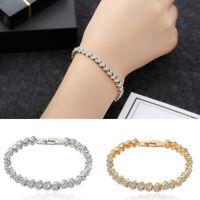 Herz Strass Kristallkette Armband Frauen Charme Infinity Manschette Armreif JXUI
