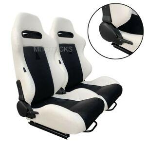 2 X TANAKA WHITE & BLACK RACING SEATS RECLINABLE + SLIDERS FIT FOR ISUZU NEW