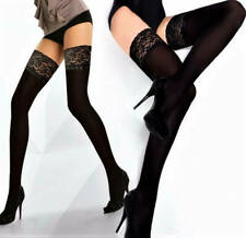 High Quality Opaque Hold Up Stockings Deep Lace Top Sexy Stay Ups 60 Den Denier