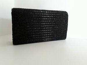 Small Evening Bag encrusted with Black Glass Beads Shoulder Strap