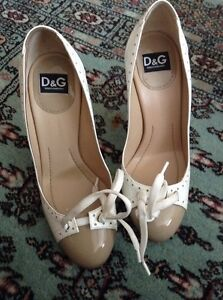 D&G Celia Brogue Beige And White Patent Shoes Size 36 Uk 3