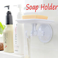 Durable Plastic Suction Cup Wall Soap Holder Dish Basket Tray Bathroom Supply.