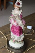 Vintage Porcelain Woman Figure Lamp 22 inches NEW PLUG