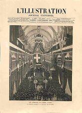 Funérailles de l'Amiral Courbet Service Funèbre Chapelle Invalides GRAVURE 1885