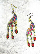 NEW GOLDTONE PEACOCK w BLUE PINK RED GREEN PURPLE CRYSTALS DANGLING EARRINGS