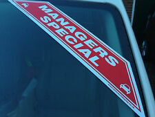 Car For Sale Sign X 25 Managers Special  Sticker, Self Adhesive Display Flash