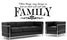 """START AND END WITH FAMILY Words Vinyl Wall Decal Lettering Sticker Sticky 24"""""""