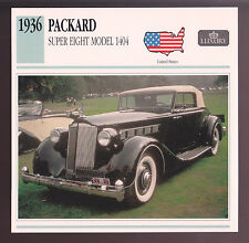 1936 Packard Super Eight (8) Model 1404 Car Photo Spec Sheet Info Stat CARD