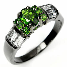 Chrome Diopside Band Round Not Enhanced Fine Gemstone Rings