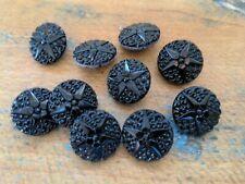 ♥Nr.34-  Alte Glasknöpfe Neugablonz  10 Stück schwarz mit  Sternen 18 mm♥