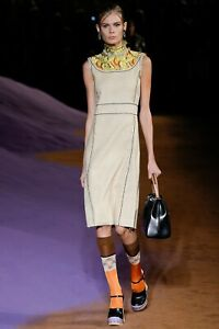 PRADA S/S 2015 RUNWAY Beige Silk Floral Crystal Accent Sheath Dress IT40/US6 NWT