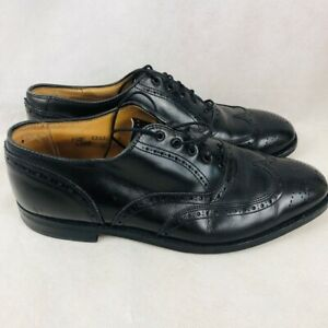 Brooks Brothers Mens Wing Tip Dress Shoes Black Perforated Lace Up 8.5 D