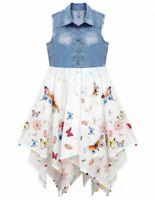 Girls Kids New Party Sleeveless Denim Top Butterfly Print Hanky Summer Dress