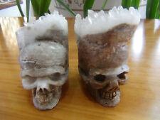 2 Natural Clear Quartz Crystal Carves skull Cluster Specimen   244g
