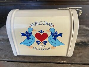 MINI DECORATIVE TIN MAILBOX blue geese & Heart by giftco postal collectible