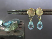 14K yellow gold Aquamarine earrings.Unique handmade earrings.Dangle earrings.