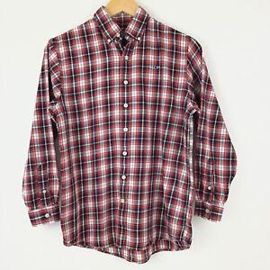 Vineyard Vines Whale Shirt Men Large Red Plaid Button Down Long Sleeve Cotton